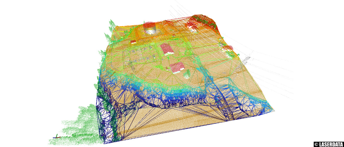 ALS point cloud thinning by surface roughness and derived TIN model (3D Viewer)